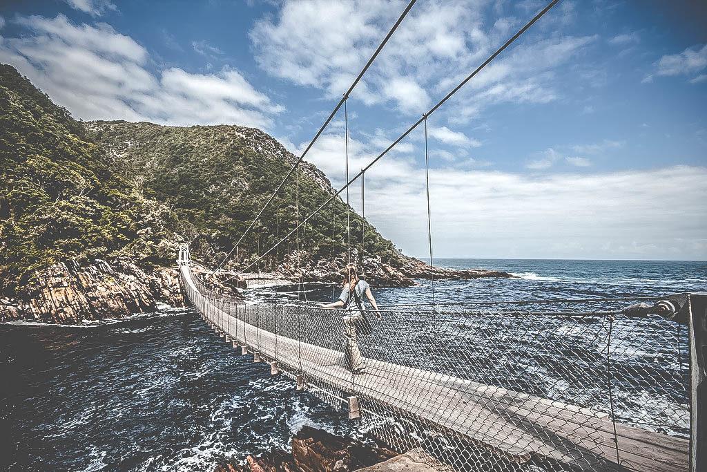 Lång hängbro i Tsitsikamma, Sydafrika